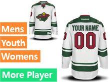 Mens Women Youth Reebok Minnesota Wild White Away Premier Jersey