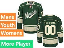 Mens Women Youth Reebok Minnesota Wild Green Alternate Premier Jersey