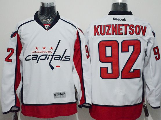 Mens Reebok Nhl Washington Capitals #92 Evgeny Kuznetsov White Away Premier Jersey