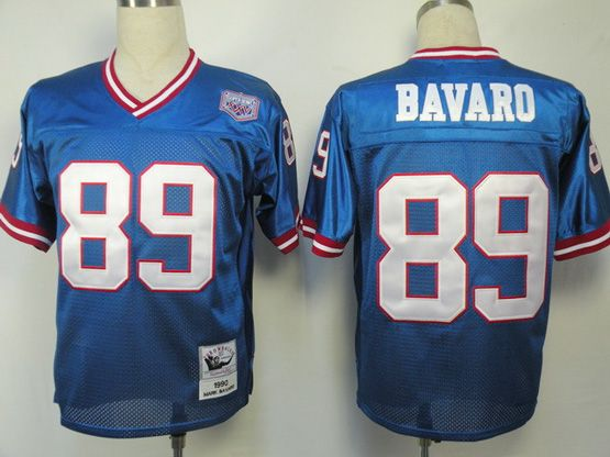 Mens Nfl New York Giants #89 Bavaro Blue Throwbacks Jersey