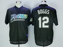 Mens Mlb Tampa Bay Devil Rays #12 Boggs Black Throwbacks Pullover Mesh Jersey