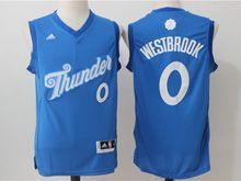Mens Adidas Nba Oklahoma City Thunder #0 Russell Westbrook Blue 2016 Christmas Day Jersey