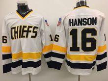 Mens Slap Shot Charlestown Chiefs #16 Jack Hanson White Movie Hockey Jersey