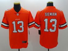 Mens   Denver Broncos #13 Trevor Siemian Orange Color Rush Limited Jersey