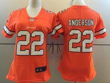 Women   Nfl Denver Broncos #22 Cj Anderson Orange Color Rush Limited Jersey