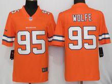 Mens   Nfl Denver Broncos #95 Derek Wolfe Orange Color Rush Limited Jersey