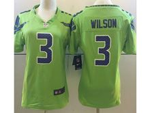Women   Nfl Seattle Seahawks #3 Russell Wilson Green Color Rush Limited Jersey