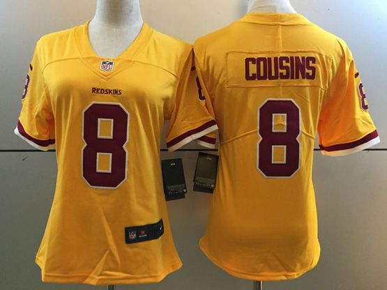 Women   Nfl Washington Redskins #8 Kirk Cousins Gold Color Rush Limited Jersey
