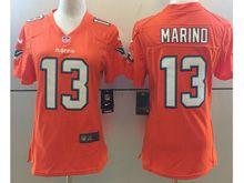 Women   Nfl Miami Dolphins #13 Dan Marino Orange Color Rush Limited Jersey