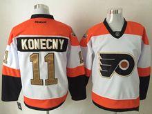 Mens Reebok Philadelphia Flyers #11 Konecny White 50th Anniversary Premier Jersey