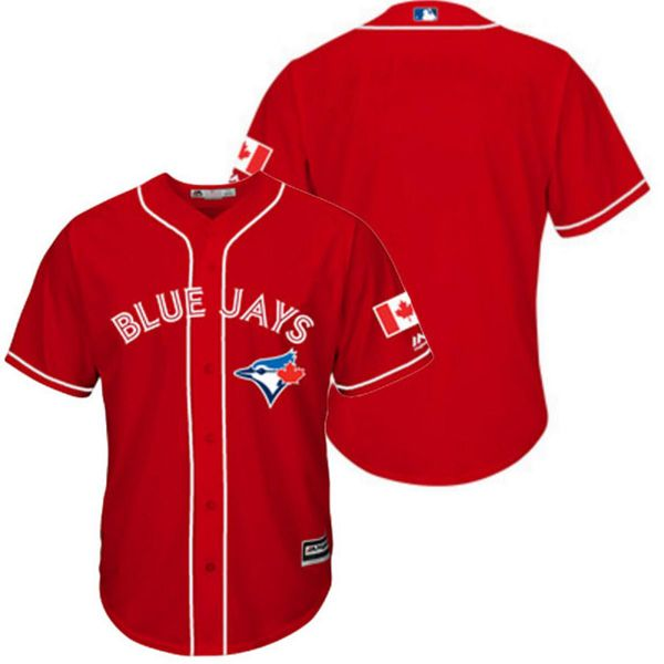 Mens Women Youth Majestic Toronto Blue Jays Red Custom Made Cool Base Jersey