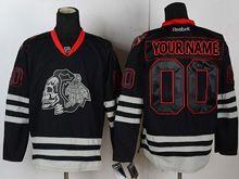 Mens Reebok Nhl Chicago Blackhawks (custom Made) Black Ice Skeleton Jersey
