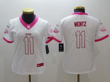 Women  Nfl Philadelphia Eagles #11 Carson Wentz White Pink Color Rush Limited Jersey