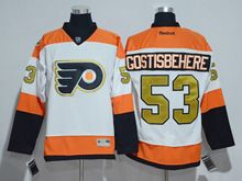 Mens Reebok Philadelphia Flyers #53 Shayne Gostisbehere White 50th Anniversary Premier Jersey