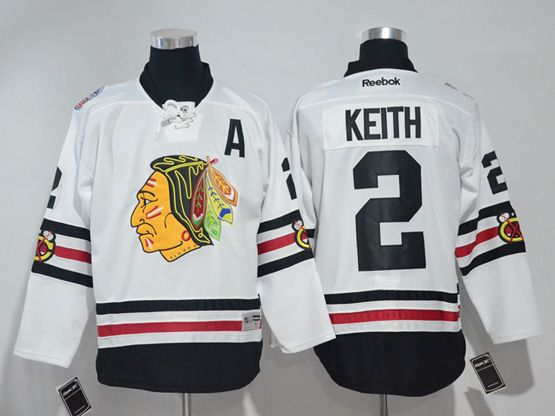 Mens Reebok Nhl Chicago Blackhawks #2 Duncan Keith White 2017 Winter Classic Jersey