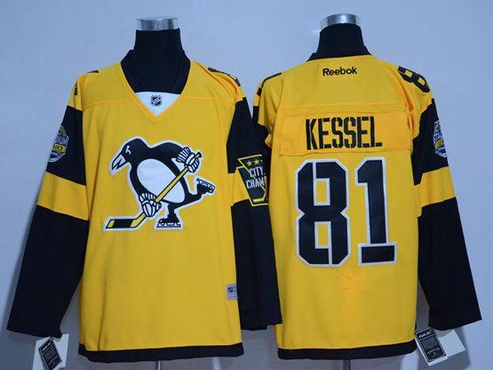 Mens Reebok Nhl Pittsburgh Penguins #81 Phil Kessel Yellow 2017 Stadium Series Jersey