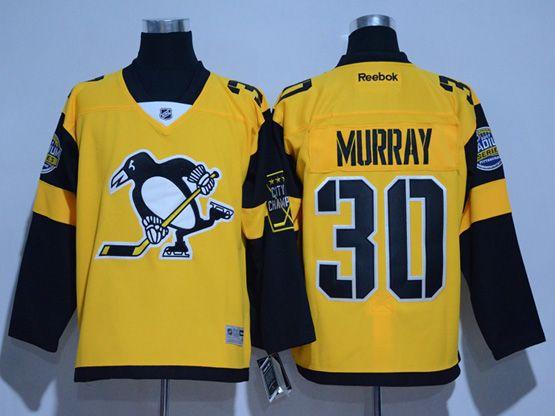 Mens Reebok Nhl Pittsburgh Penguins #30 Matt Murray Yellow 2017 Stadium Series Jersey