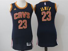Women Adidas Cleveland Cavaliers #23 Lebron James Navy Blue Jersey