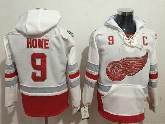 Mens Reebok Nhl Detroit Red Wings #9 Howe White Hoodie