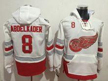 Mens Reebok Nhl Detroit Red Wings #8 Justin Abdelkader White Hoodie