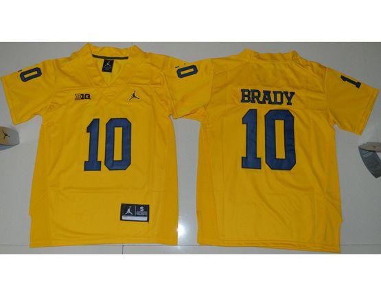 Youth Ncaa Nfl Jordan Brand Michigan Wolverines #10 Tom Brady Yellow Limited Jersey