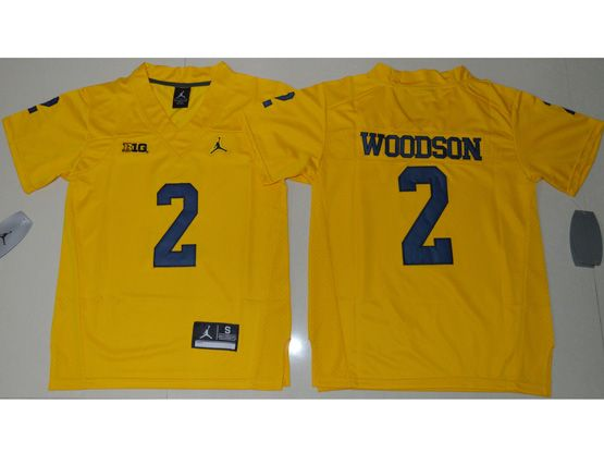 Youth Ncaa Nfl Jordan Brand Michigan Wolverines #2 Charles Woodson Yellow Limited Jersey