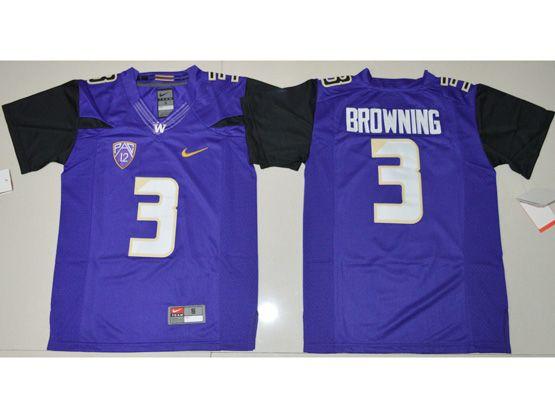 Youth Ncaa Nfl Washington Huskies #3 Jake Browning Purple Jersey