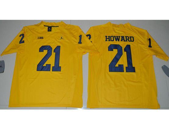 Mens Ncaa Nfl Jordan Brand Michigan Wolverines #21 Desmond Howard Yellow Limited Jersey