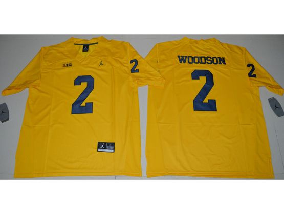 Mens Ncaa Nfl Jordan Brand Michigan Wolverines #2 Charles Woodson Yellow Limited Jersey