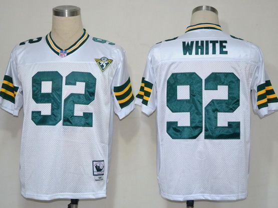Mens Nfl Green Pay Packers #92 White White 75th Throwbacks Jersey
