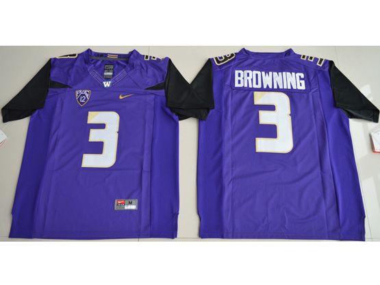 Mens Ncaa Nfl Washington Huskies #3 Jake Browning Purple Limited Jersey