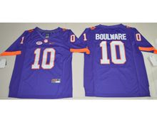 Mens Ncaa Nfl Clemson Tigers #10 Ben Boulware Purple Limited Jersey