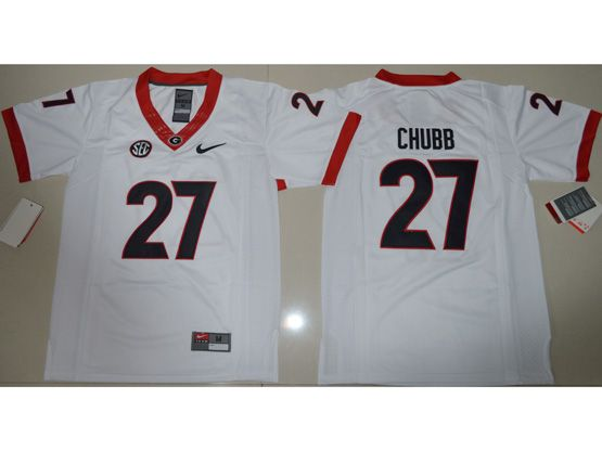 Youth Ncaa Nfl Georgia Bulldogs #27 Nick Chubb White Limited Jersey