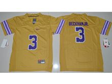 Youth Ncaa Nfl Lsu Tigers #3 Beckham Jr. Gold Color Rush Limited Jersey