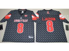 Mens Ncaa Nfl Louisville Cardinals #8 Lamar Johnson Black Jersey