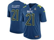 Mens   Dallas Cowboys #21 Ezekiel Elliott Blue (2017 Pro Bowl) Limited Jersey