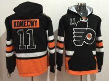 Mens Reebok Philadelphia Flyers #11 Travis Konecny Black Hoodie