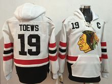 Mens Reebok Nhl Chicago Blackhawks #19 Jonathan Toews White Hoodie