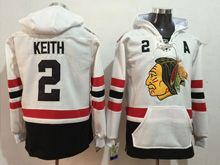 Mens Reebok Nhl Chicago Blackhawks #2 Duncan Keith White Hoodie