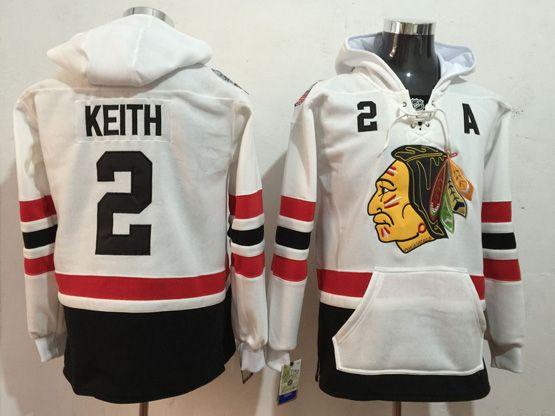 Mens Reebok Nhl Chicago Blackhawks #2 Duncan Keith White Hoodie