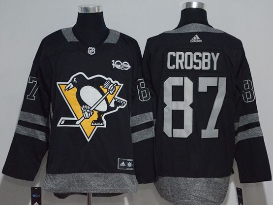 Mens Adidas Nhl Pittsburgh Penguins #87 Sidney Crosby Black 100 Anniversary Jersey