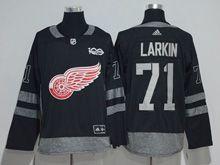 Mens Nhl Detroit Red Wings #71 Dylan Larkin Black 100 Anniversary Adidas Jersey