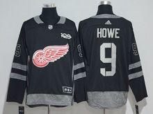 Mens Nhl Detroit Red Wings #9 Howe Black 100 Anniversary Adidas Jersey