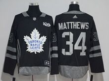 Mens Adidas Nhl Toronto Maple Leafs #34 Auston Matthews Black 100 Anniversary Jersey