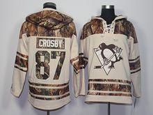 Mens Reebok Nhl Pittsburgh Penguins #87 Sidney Crosby Cream Camo Hoodie