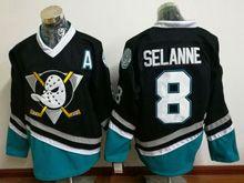 Mens Ccm Nhl Anaheim Mighty Ducks #8 Selanne Black Vintage Jersey