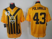Mens   Nfl Pittsburgh Steelers #43 Polamalu Yellow 1933 Classics Jersey