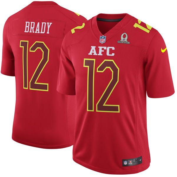 Mens Nfl New England Patriots #12 Tom Brady Red (2017 Pro Bowl) Game Jersey