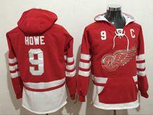Mens Reebok Nhl Detroit Red Wings #9 Howe Red Hoodie