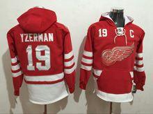 Mens Reebok Nhl Detroit Red Wings #19 Yzerman Red Hoodie